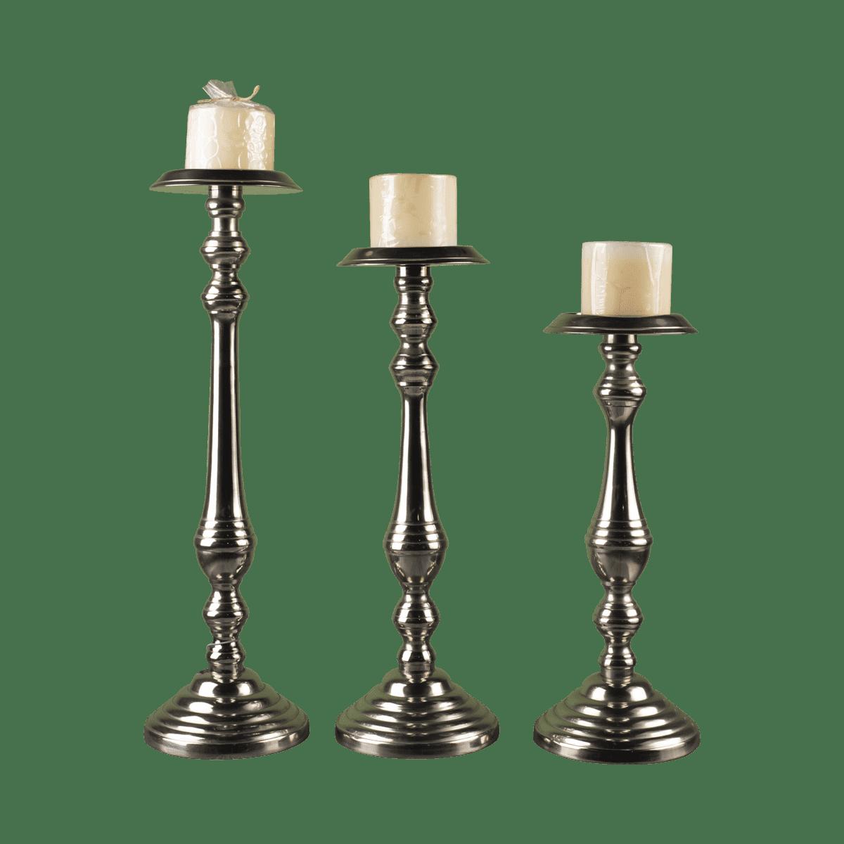 شمعدان سه سایز نقره ای